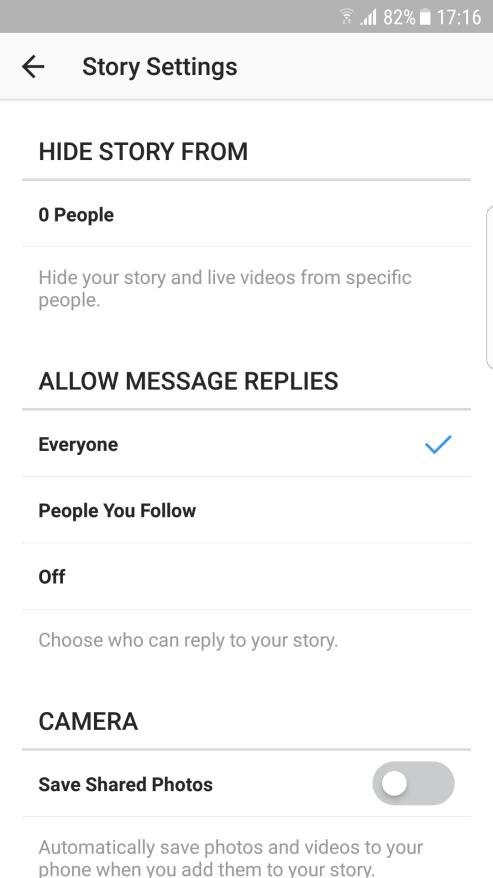 Instagram story postavke